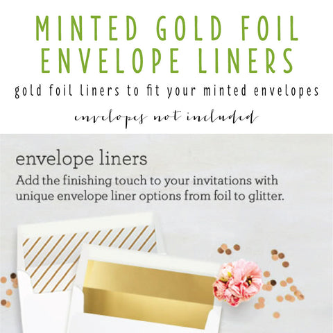 minted gold foil envelope liners (envelopes not included) - set of 10 - lola louie paperie, stationery - paper goods, stationery - wedding stationery, stationery - wedding invitations, stationery - thank you cards, stationery - bridesmaid cards
