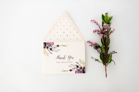 nellie wedding thank you cards // personalized thank you cards / card set / stationery / purple floral gold foil polka dot blush - lola louie paperie