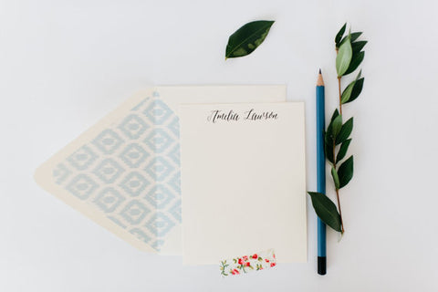 personalized notecard set / stationery / card set / flat personalized wedding thank you cards / baby shower cards / calligraphy - lola louie paperie, stationery - paper goods, stationery - wedding stationery, stationery - wedding invitations, stationery - thank you cards, stationery - bridesmaid cards