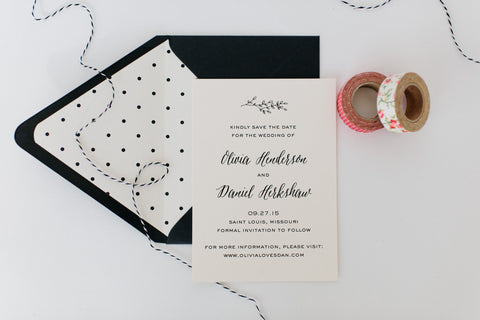 olivia save the date invitation - customizable (sets of 10) - lola louie paperie, stationery - paper goods, stationery - wedding stationery, stationery - wedding invitations, stationery - thank you cards, stationery - bridesmaid cards