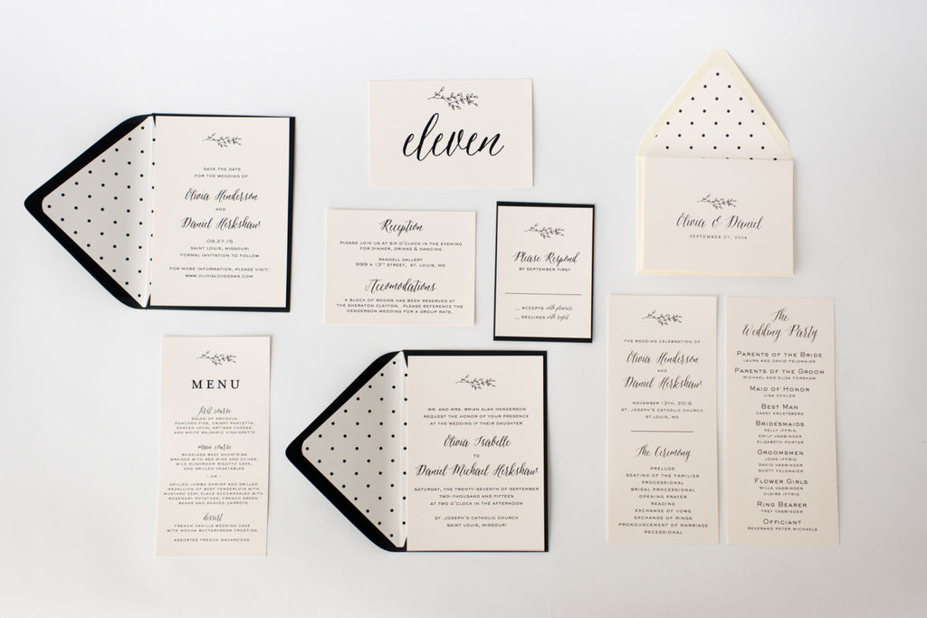 olivia wedding set - lola louie paperie, stationery - paper goods, stationery - wedding stationery, stationery - wedding invitations, stationery - thank you cards, stationery - bridesmaid cards