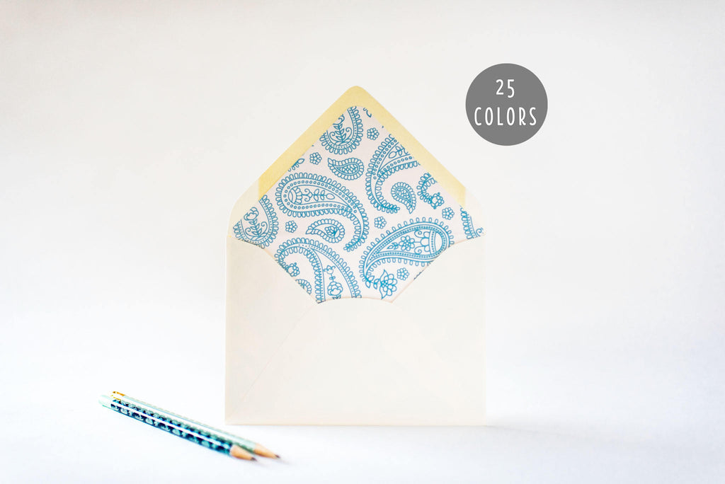 paisley lined envelopes (25 color options) - sets of 10 - lola louie paperie, stationery - paper goods, stationery - wedding stationery, stationery - wedding invitations, stationery - thank you cards, stationery - bridesmaid cards