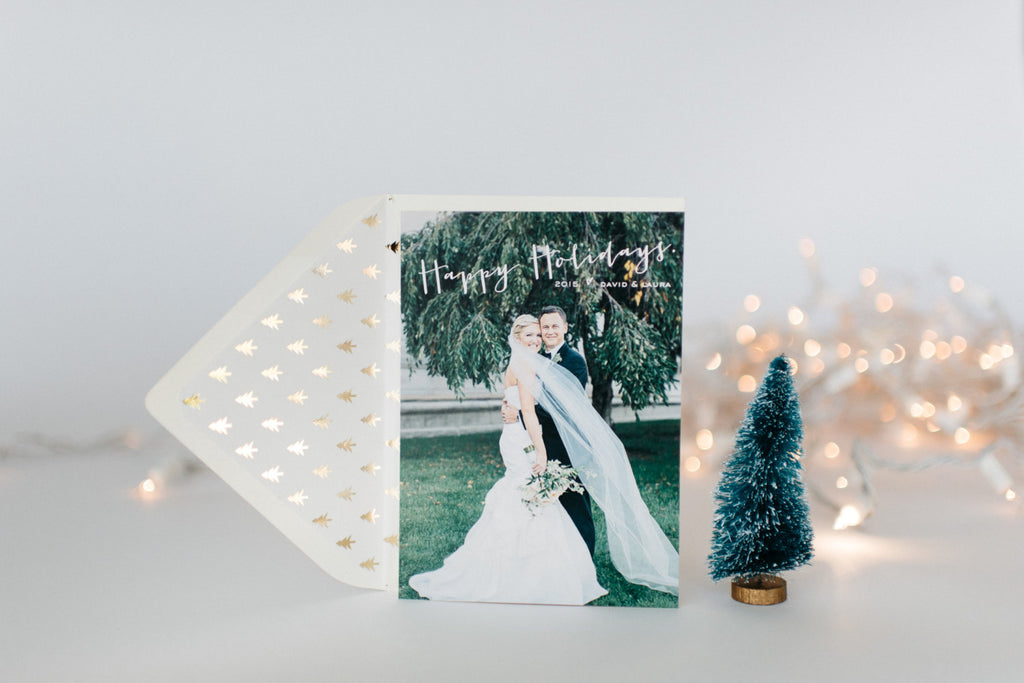 personalized christmas / holiday photo cards + envelopes (sets of 10) - lola louie paperie, stationery - paper goods, stationery - wedding stationery, stationery - wedding invitations, stationery - thank you cards, stationery - bridesmaid cards