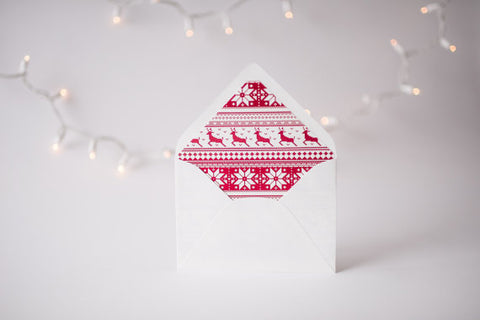 red christmas sweater lined envelopes / christmas holiday envelope liners (set of 10) - lola louie paperie, stationery - paper goods, stationery - wedding stationery, stationery - wedding invitations, stationery - thank you cards, stationery - bridesmaid cards
