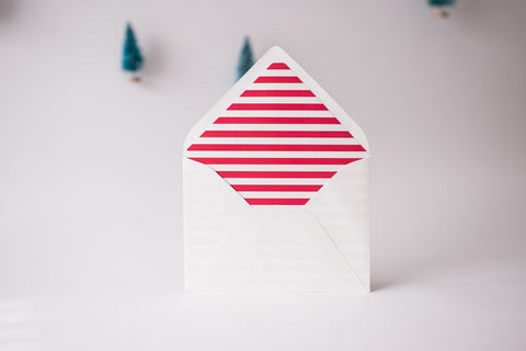 red horizontal stripe lined envelopes / christmas holiday envelope liners (sets of 10) - lola louie paperie, stationery - paper goods, stationery - wedding stationery, stationery - wedding invitations, stationery - thank you cards, stationery - bridesmaid cards