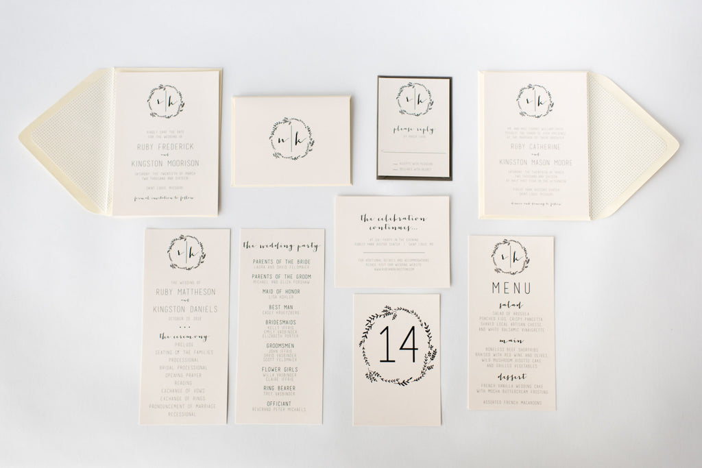 ruby wedding set - lola louie paperie, stationery - paper goods, stationery - wedding stationery, stationery - wedding invitations, stationery - thank you cards, stationery - bridesmaid cards