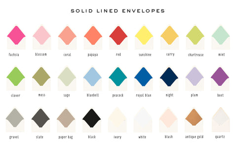 solid liners only (25 color options - envelope not included) - sets of 10 - lola louie paperie, stationery - paper goods, stationery - wedding stationery, stationery - wedding invitations, stationery - thank you cards, stationery - bridesmaid cards