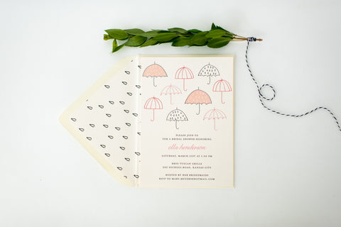 umbrella bridal shower invitation - customizable (sets of 10) - lola louie paperie, stationery - paper goods, stationery - wedding stationery, stationery - wedding invitations, stationery - thank you cards, stationery - bridesmaid cards