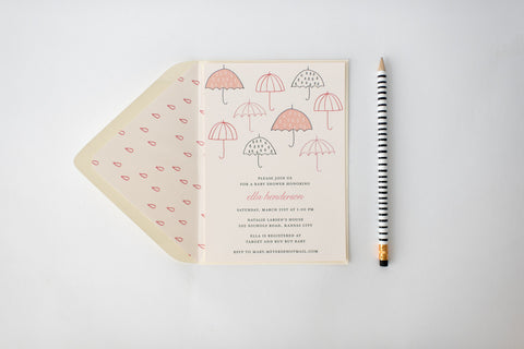 umbrella baby shower invitation - customizable (sets of 10) - lola louie paperie, stationery - paper goods, stationery - wedding stationery, stationery - wedding invitations, stationery - thank you cards, stationery - bridesmaid cards