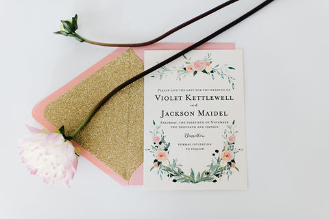 violet save the date invitation - watercolor floral - gold glitter - customizable (sets of 10) - lola louie paperie, stationery - paper goods, stationery - wedding stationery, stationery - wedding invitations, stationery - thank you cards, stationery - bridesmaid cards