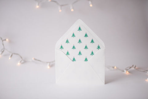 watercolor christmas tree lined envelopes / christmas holiday envelope liners (set of 10) - lola louie paperie, stationery - paper goods, stationery - wedding stationery, stationery - wedding invitations, stationery - thank you cards, stationery - bridesmaid cards