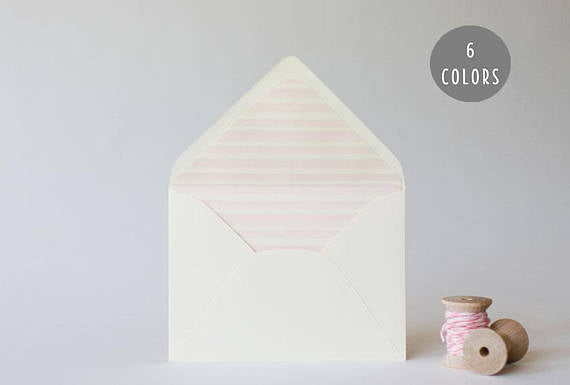 watercolor stripes lined envelopes (6 color options) - sets of 10 - lola louie paperie, stationery - paper goods, stationery - wedding stationery, stationery - wedding invitations, stationery - thank you cards, stationery - bridesmaid cards