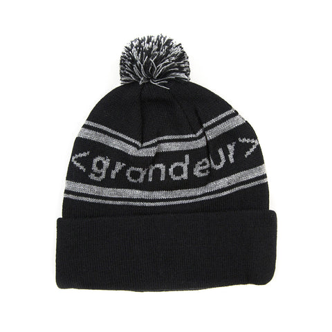 Grandeur Black Pom Beanie With Gray < grandeur > Bar Logo