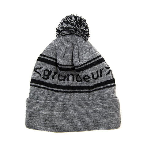 Grandeur Gray Pom Beanie With Black < grandeur > Bar Logo