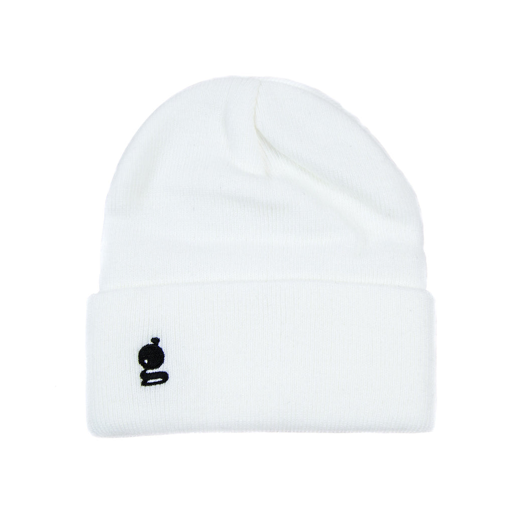 Grandeur White Beanie with Black 'g' Logo