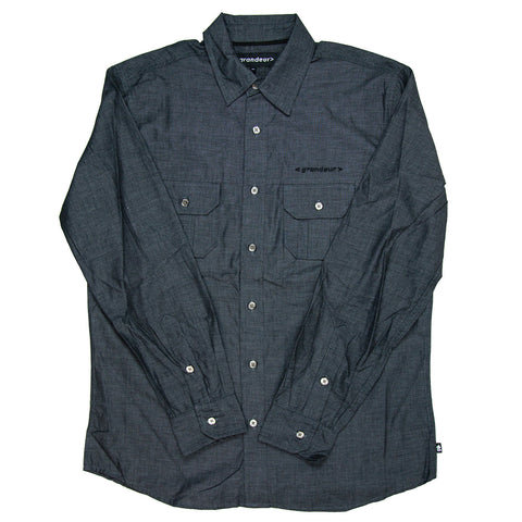 Grandeur Charcoal Long Sleeve Button Down Shirt