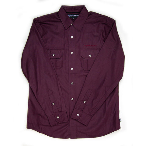 Grandeur Burgundy Long Sleeve Button Down Shirt