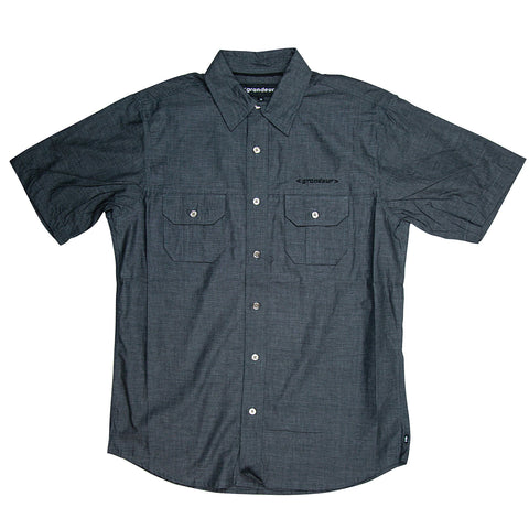 Grandeur Charcoal Short Sleeve Button Down Shirt