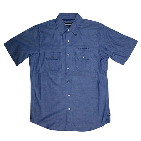 Grandeur Blue Short Sleeve Button Down Shirt