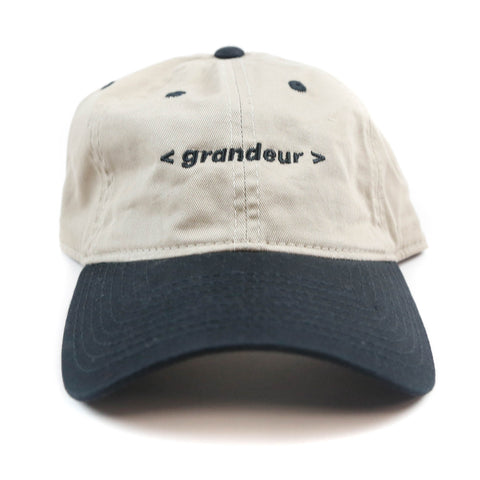 Grandeur Beige and Black Bar Logo Polo Hat