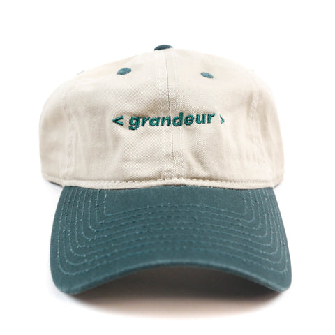 Grandeur Beige and Green Bar Logo Polo Hat