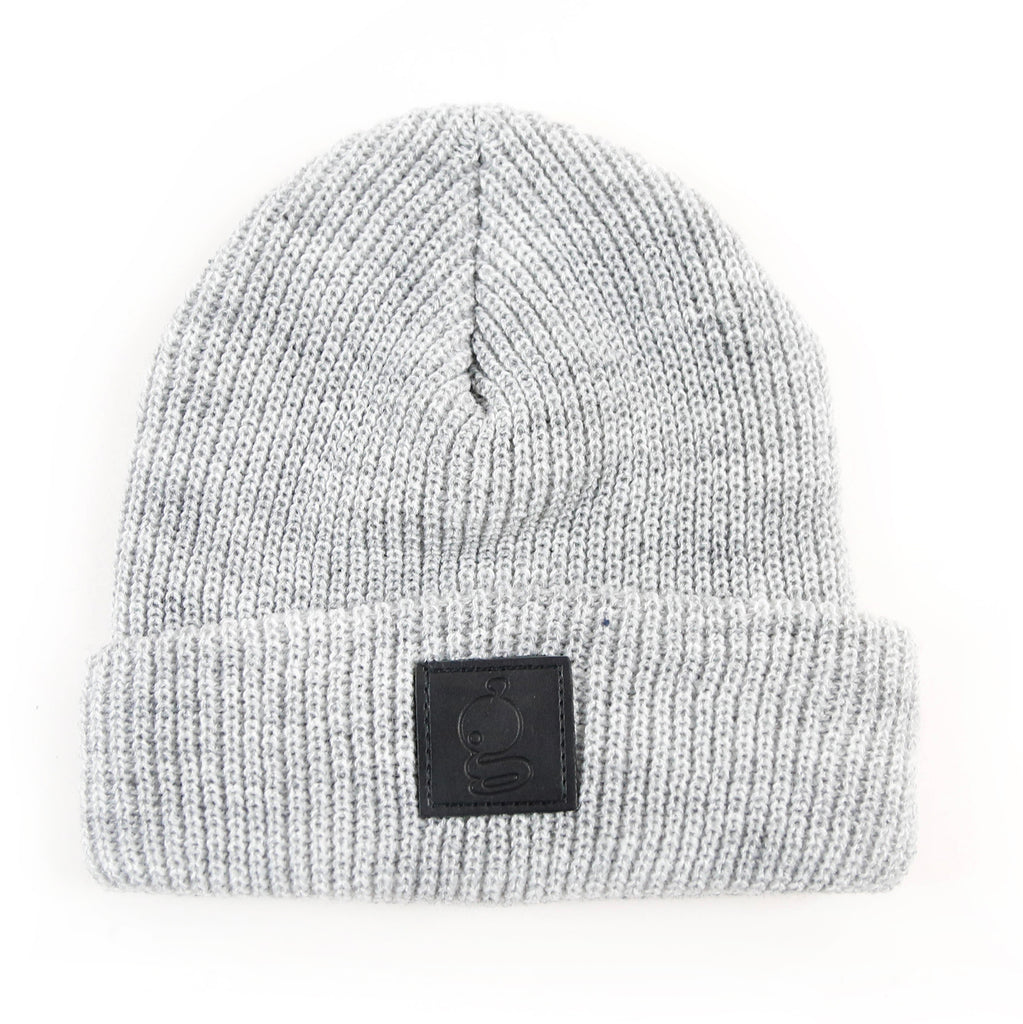 Grandeur Gray Beanie with Black Leather 'g' Logo