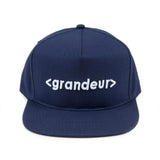 Grandeur Navy Blue Bar Logo Structured SnapBack Hat