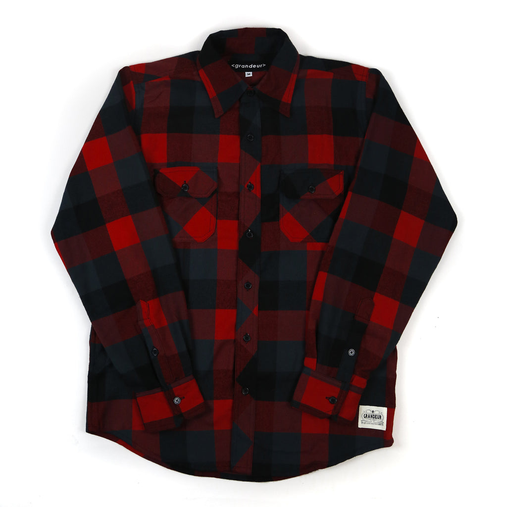 Grandeur Red and Black Button Down Flannel