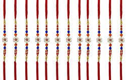 Rakhi Bracelet for Brother and Raksha Bandhan Festival | 12 Red Threads & Blue & Mixed Decorative Beads