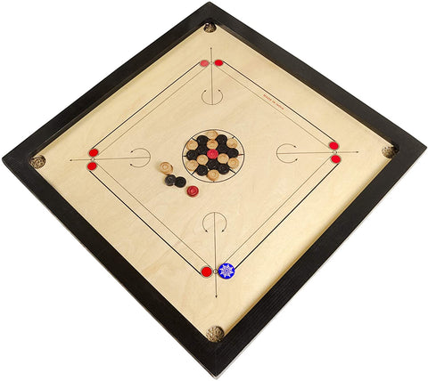 EkPuja Classic Carrom 33 x 33 Set with Board, Coins and Striker 6mm