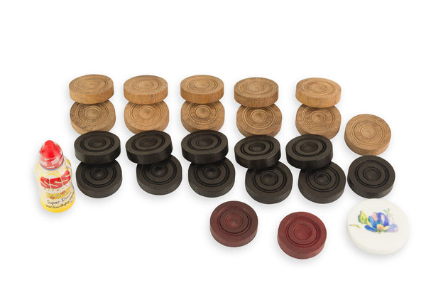 Replacement Wooden Carrom Coins Striker and Powder Set | Tournament Carrommen and Powder Set