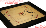 "Championship Carrom Board of Premium Professional Standard Quality -12MM Thick Plywood Heavy Rosewood Frame with Incredible Rebound - 37"" x 37"" Board"