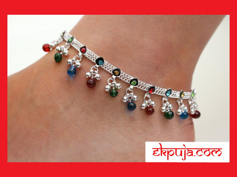 Multi-coloure Anklet/Wedding anklets with bells/Indian wedding payal/Hen party anklet gift/ Bollywood Bellydance anklet single or pair