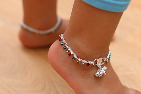 Multi-coloure Anklet - Wedding anklets with bells - Indian girls payal - kids anklet - Bollywood kids dance anklet - single or pair