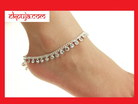 Stunning Diamonte Adult Anklet Payal Anklet Chain Bollywood Anklet Pair - Summer Wedding Indian Ankle Chain Anklet PAIR