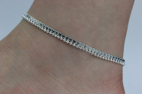 Simple Silver Coloured Anklet Chain Anklet Indian Payal Foot Chain Single or Pair