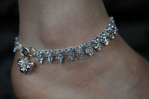 Diamonte Anklet Pair/Indian Diamonte Payal/Bollywood Anklet Pair/Diamonte ankle chain Anklet Pair/ wedding Favours/Hen party Anklet/ pair