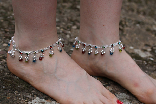 Anklet - Multi coloured ankle chain bracelet- Indian wedding payal - Bollywood dance Anklets - Handmade Diamonte ankle chain Anklet payal