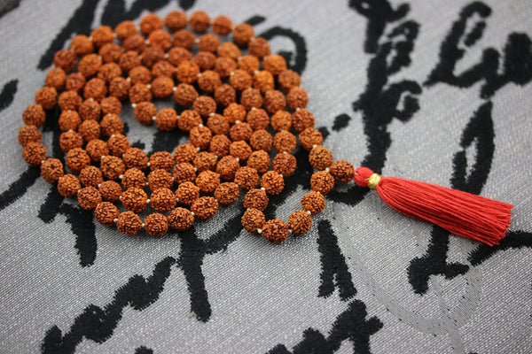 10MM Rudraksha Mala Yoga Meditation Hindu Prayer Beads 108+1 Rudraksha Beads Mala with Red Tassel