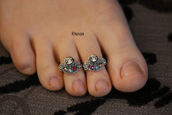 Tibetan silver/Rhinestones/Handmade Toe Ring/ Indian Toe rings/ Diamonte Toe Ring set/ PAIR