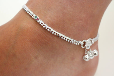 Ankle chain bracelet- India wedding payal - Handmade Anklet-  wedding favours Anklet- Indian bell payal- payal chain with bell -party Anklet
