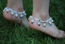 Stunning Anklet- Multi coloured Gems Anklet bells - Bollywood Anklet payal - multi colour Diamonte Anklets - Indian wedding Kids Girls payal