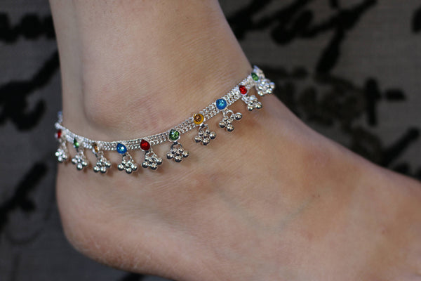 Pair of heavy bell silver tone/ indian Traditional anklets / Indian payal Pair/Christmas gift/ankle bracelet/Multi coloured gems anklets