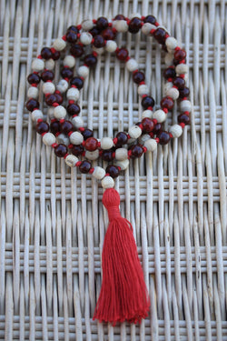 Red Tulsi Holy Basil Hand Knotted Mala 108 Beads Necklace - Karma Nirvana Meditation 7-8mm Prayer Beads - white and red tulsi meditataion