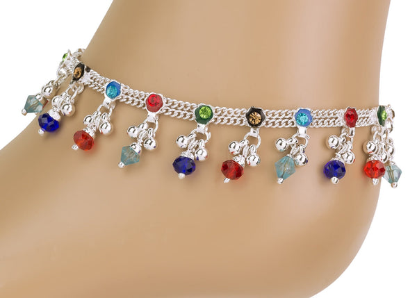 Anket multi colour ankle chain foot bracelet payal indian wedding holiday anklet bell sound anklet pair