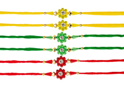 6 Rakhi set - handmade indian rakhi for raksha bandhan hindu festival - diamante rakhi thread - rakhadi dhaga wristband - set of 6