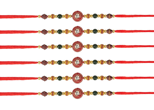 6 Rakhi - Rakshabandhan Rakhi Wristband- Rudraksha Rakhi Wristband - brother Rakhi - Rakhi Wristband threads - set of 6 Rakhi