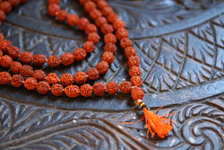 Rudraksha mala 8 mm knotted 108 + 1 prayer beads, Orange Tassel necklace, mens mala india, yoga meditation buddhist tibetan prayer mala