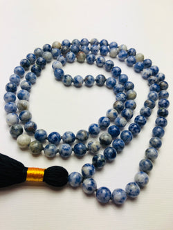 Natural Blue Spot Jasper Gems Stones Buddhist Prayer Beads Knotted Mala Necklace With Black Tassel