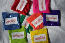 Colour Run Party Event Mini Bags | 8 Colours in 50g Bags of Gulal Holi Throwing Paint Powder | Non Toxic Safe to Use